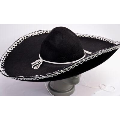Óriás, fekete sombrero fehér díszítéssel - ÚJ