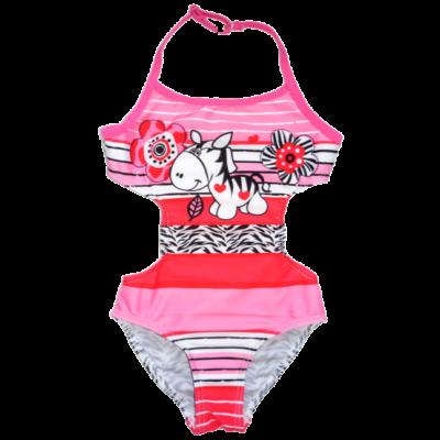 98-104-es rózsaszín zebrás fürdőruha - Cocobana - ÚJ