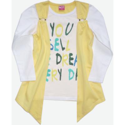 110-es fehér-sárga duplahatású lány pamutfelső - Glo-Story - ÚJ