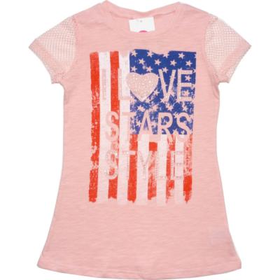 134-es rózsaszín hosszított feliratos strasszos póló - Glo-Story - ÚJ