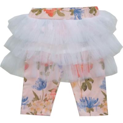 116-os rózsaszín virágos tüllszoknyás térdig érő leggings - Goloxy - ÚJ