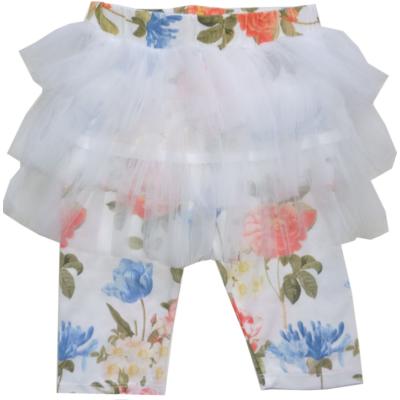 98-as fehér virágos tüllszoknyás térdig érő leggings - Goloxy - ÚJ