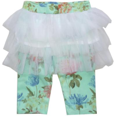104-es zöld virágos tüllszoknyás térdig érő leggings - Goloxy - ÚJ