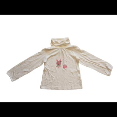 116-os fehér garbónyakú nyuszis pamutfelső - Vertbaudet