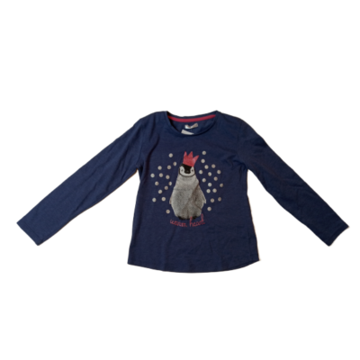 122-es lila pingvines pamutfelső lánynak - Pepco