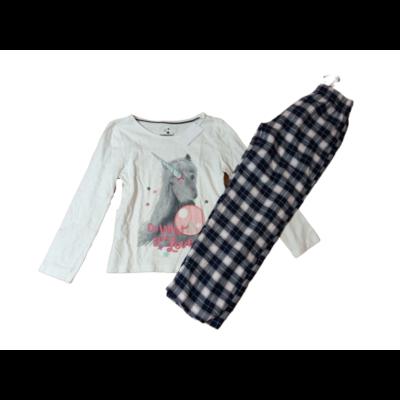 122-128-as fehér-kék unikornisos pizsama - Pepperts