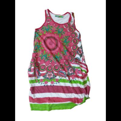 134-140-es fehér-rózsaszín virágos ujjatlan ruha - Desigual