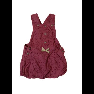 80-86-os rózsaszín pöttyös kantáros ruha