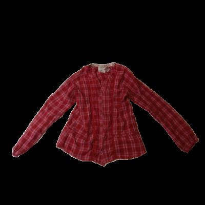 164-es piros kockás hosszú ujjú blúz - H&M