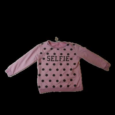 146-152-es rózsaszín pöttyös pulóver - Pink & KA