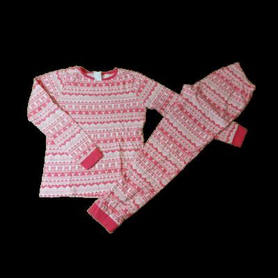 146-152-es piros-fehér mintás pizsama - Pepco