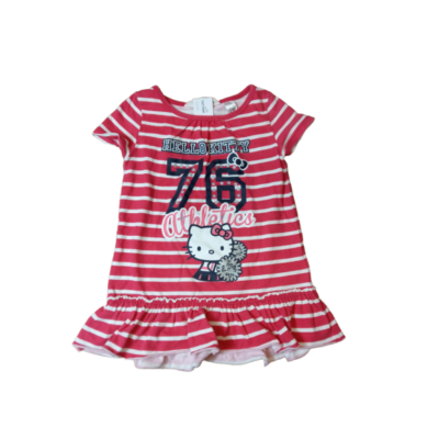 92-es piros-fehér csíkos tunika - Hello Kitty