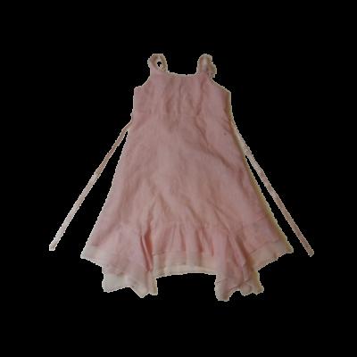 122-128-as rózsaszín magában virágos pántos ruha