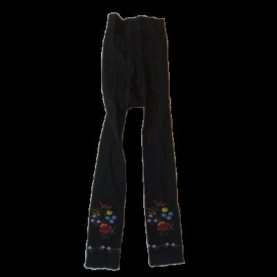 122-128-as fekete matyómintás lábfej nélküli harisnya - ÚJ