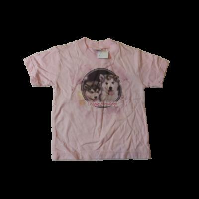 80-86-os rózsaszín kutyás póló - ÚJ
