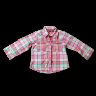 80-86-os rózsaszín-zöld kockás hosszú ujjú blúz - Next