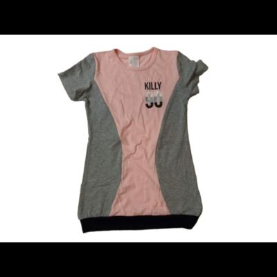 140-es szürke-rózsaszín hosszított zsebes póló - ÚJ