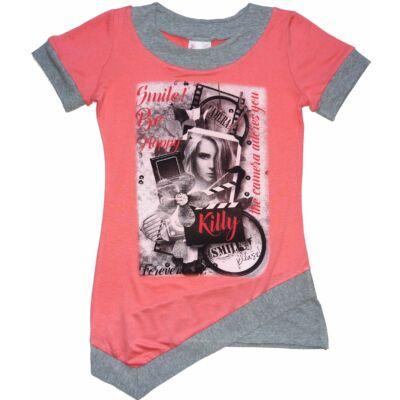 152-es rózsaszín-szürke lányos póló - ÚJ