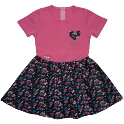 122-es rózsaszín virágos ruha - ÚJ