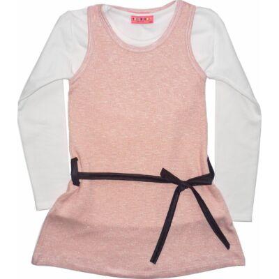 152-es rózsaszín-fehér szett (tunika és pamutfelső) - ÚJ