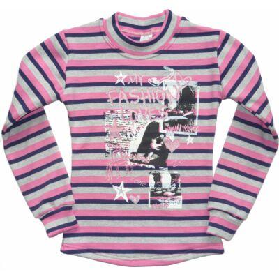 122-es rózsaszín-szürke csíkos vékonyabb pulóver - ÚJ