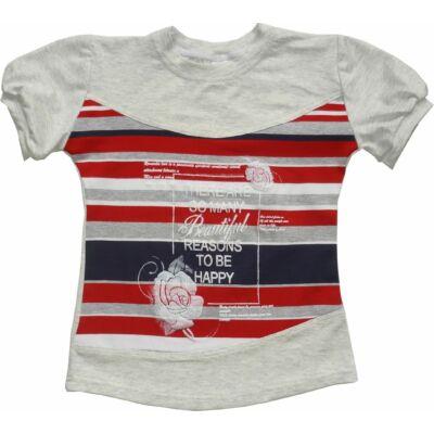 116-os szürke-piros csíkos ezüst csillogó mintájú lány póló - ÚJ