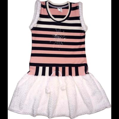 140-es rózsaszín-fekete csíkos szőrmeszegélyes ruha - ÚJ