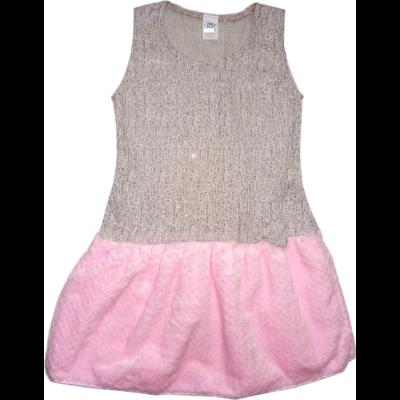 116-122-es rózsaszín szőrmés csillogó alkalmi ruha - ÚJ