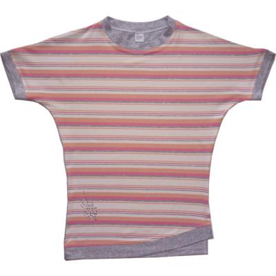 128-as rózsaszín-szürke csíkos póló - ÚJ