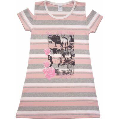 122-es rózsaszín-szürke csíkos nyitott vállú ruha - ÚJ