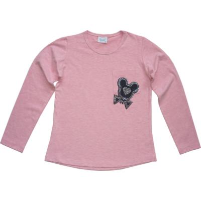 134-es rózsaszín strasszköves zsebes pamutfelső - ÚJ