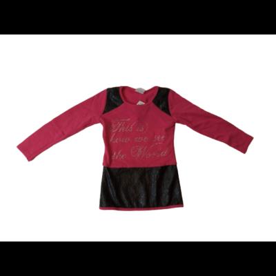 122-es pink-fekete vékony pulóver bőrhatású betétekkel- ÚJ