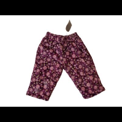 68-as lila virágos kordnadrág polárral bélelve - ÚJ