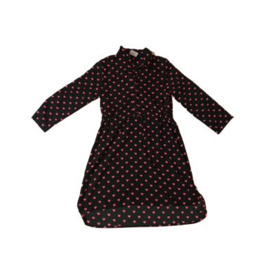 146-152-es fekete alapon rózsaszín szívecskés ruha - George
