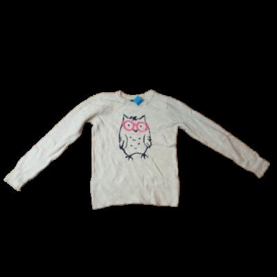 140-146-os világosdrapp baglyos lány kötött pulóver - GAP