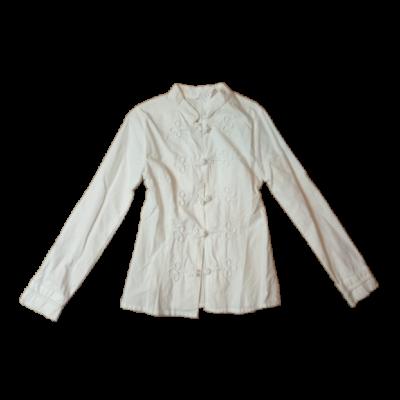 158-as fehér néptáncos, lenes, mente jellegű hosszúujjú blúz
