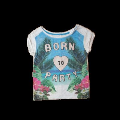 158-164-es fehér-kék pálmafás póló