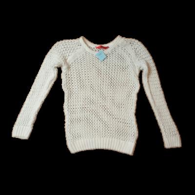 140-146-os fehér lukacsos pulóver