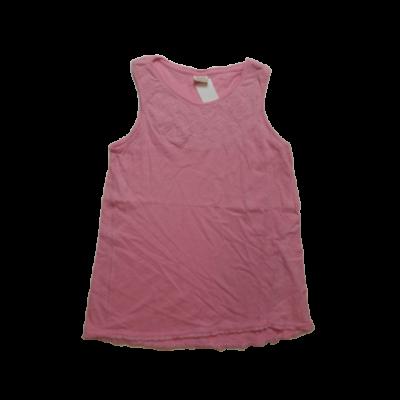 164-es rózsaszín nyakánál hímzett ujjatlan póló - Zara