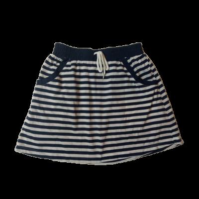 158-164-es kék-fehér tengerészcsíkos pamut szoknya