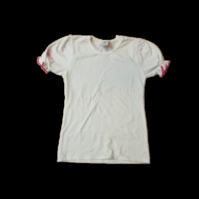 116-os fehér  póló pink szegéllyel - ÚJ