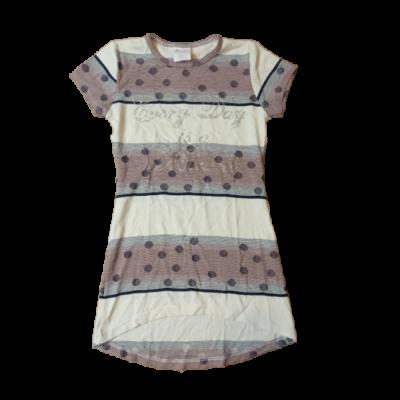 128-134-es drapp-barna pöttyös tunika - ÚJ