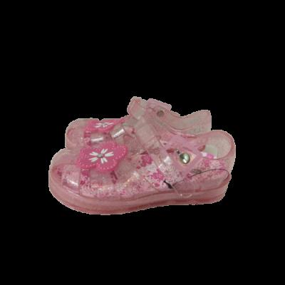 24-es áttetsző rózsaszín csillogó virágos víziszandál, strandszandál - In Extenso - ÚJ