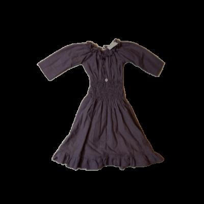 122-128-as lila csíkos lenes ruha