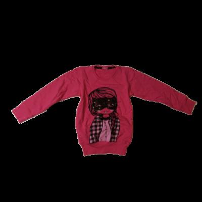 116-os pink hosszított lányos pulóver - ÚJ
