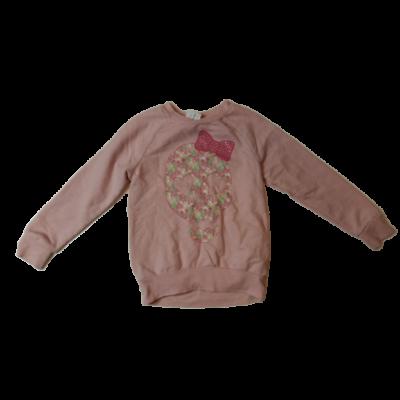 122-es rózsaszín koponyás strasszos pamut pulóver - F&F