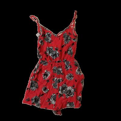 158-164-es piros virágos playsuit