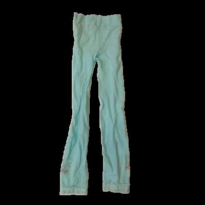 116-122-es türkiz strasszos lábfej nélküli nylonharisnya