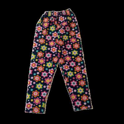 92-es kék alapon színes virágos leggings - ÚJ