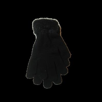 Fekete szőrmés kötött lány kesztyű - ÚJ